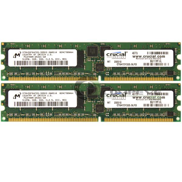 Crucial 1GB 2x512MB PC2700 DDR333MHz ECC Reg 184-Pin DIMM Memory CT6472Y335.9LFD