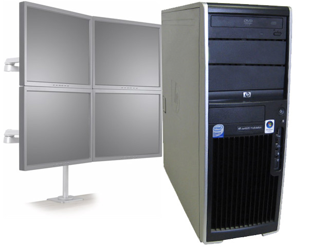 HP XW4600 Workstation Dual Core 2.33GHz/4GB/Win7 4 Monitor PC