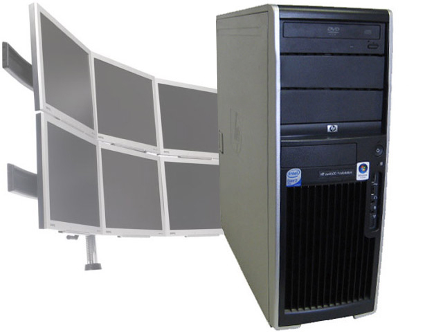 HP XW4600 Workstation C2D 2.33GHz/4GB/Win7 6 Monitor Computer PC