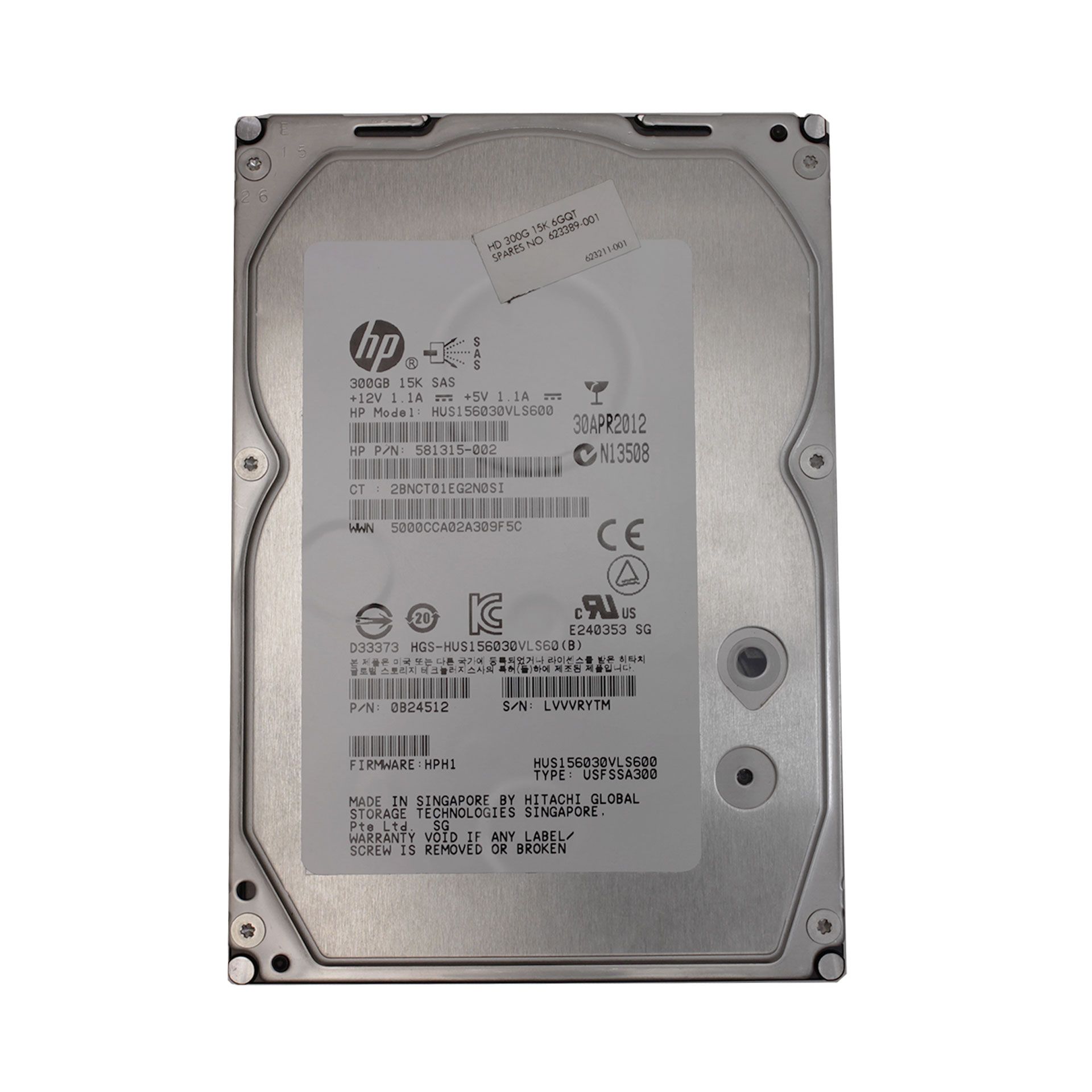 HP/Hitachi 300GB HUS156030VLS600 15K SAS 581315-002 623389-001