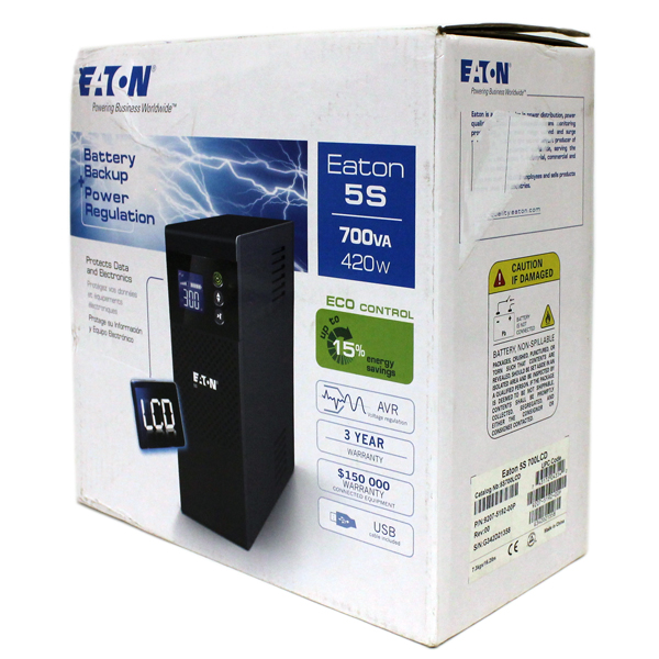 Eaton 5S700LCD 700VA 420Watts LCD 8-Outlets Tower UPS 8x 5-15R