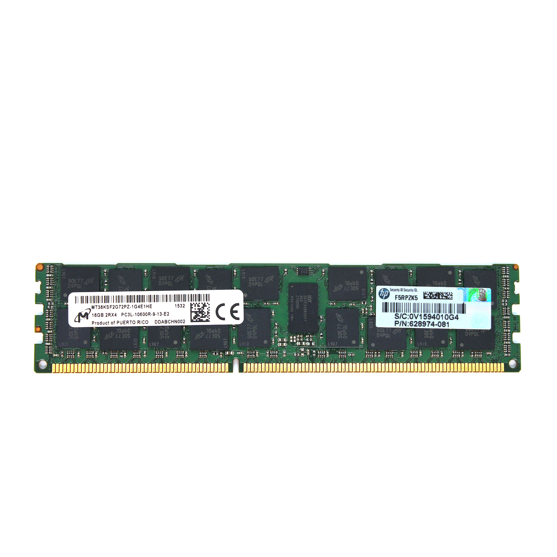 HP/Micron 16B RAM DDR3 2Rx4 PC3L-10600R 628974-081 Server Memory