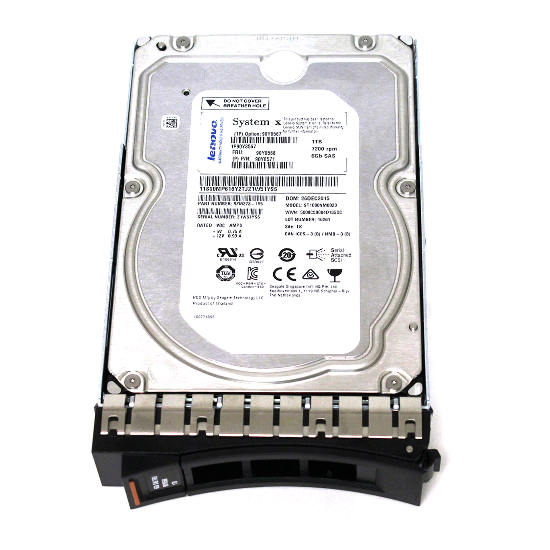 LENOVO 1TB7200RPM 6GBPS 3.5INCH ST1000NM0023 FRU 90Y8568 w/caddy