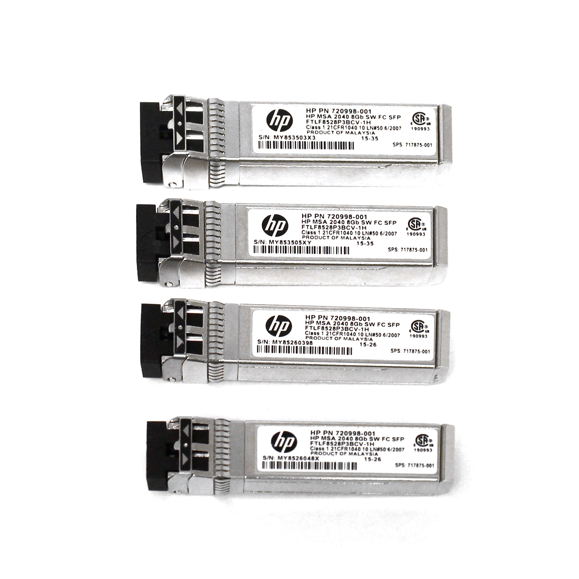 HP MSA 2040 8Gb 720998-001 Fibre SFP+ 4-Pack Transceiver C8R23A
