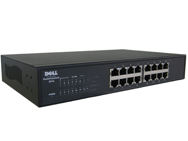 Dell 16-Port PowerConnect 2216 Fast Ethernet Switch WJ568