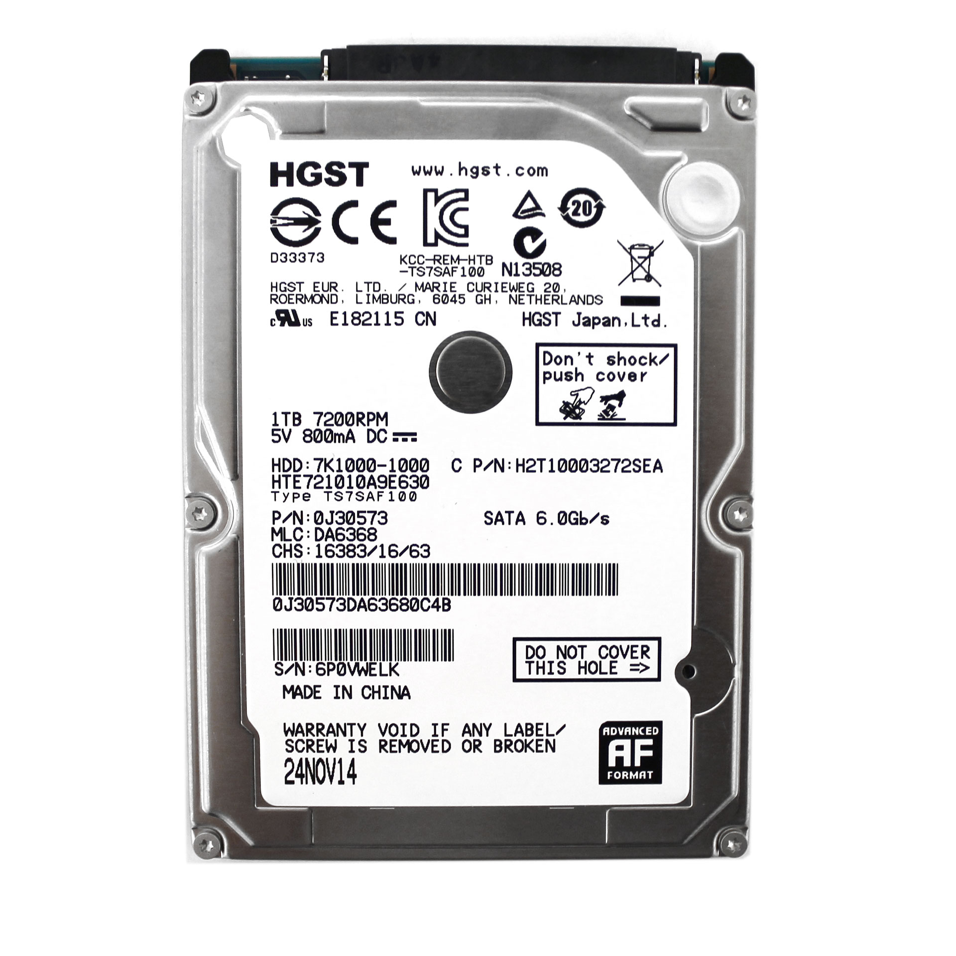 "HGST Travelstar 1TB HTE721010A9E630 0J30573 2.5"" Notebook HDD"