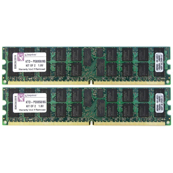 Kingston 8GB (2x4GB) PC2-5300 DDR2 ECC Reg Memory KTD-PE6950/8G