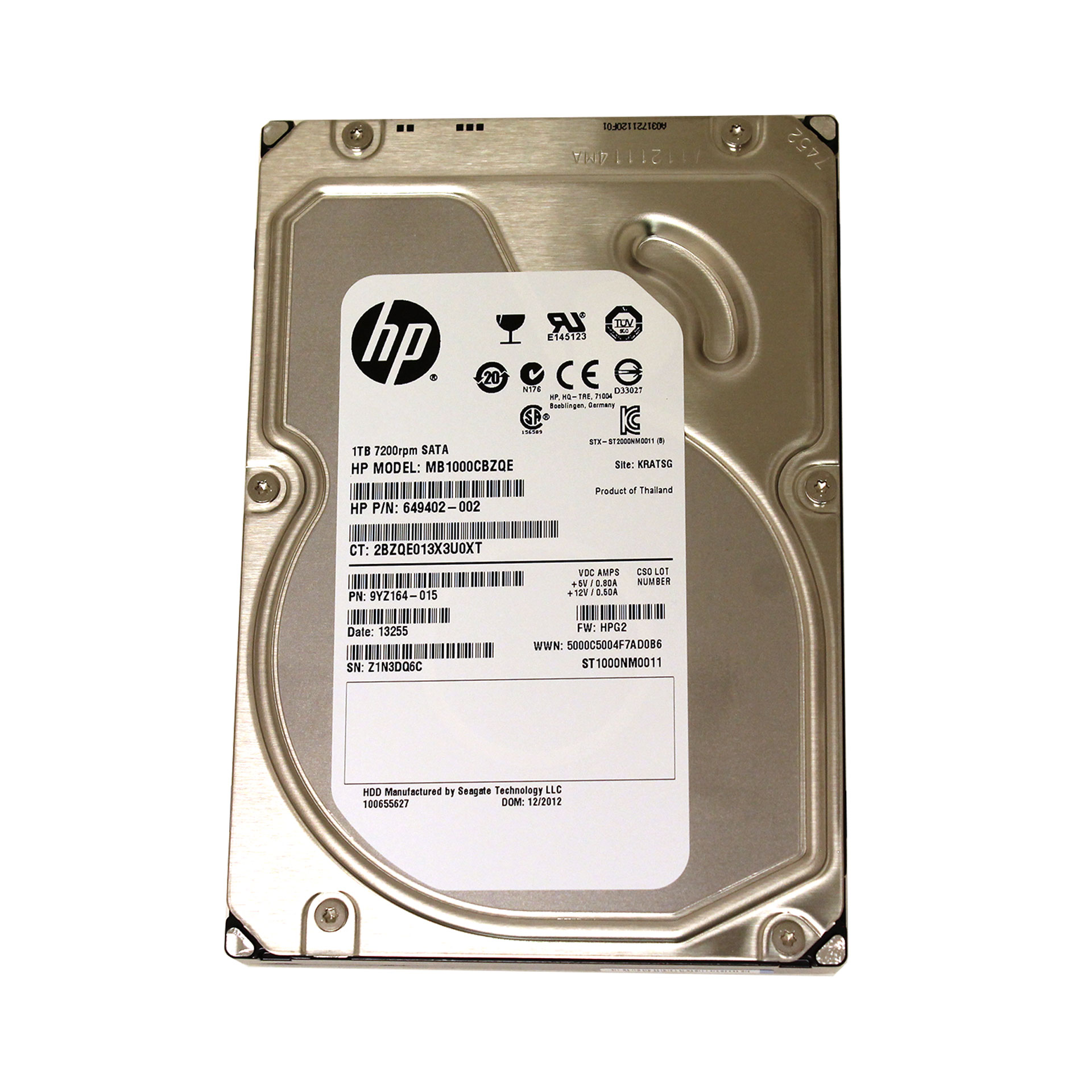 "HP 1TB MB1000CBZQE 7200RPM 3.5"" ST1000NM0011 649402-002"