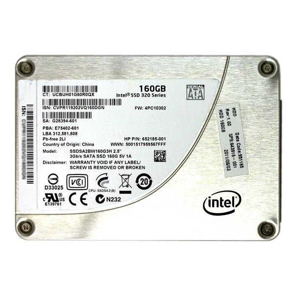 HP 652185-001 Intel 320 Series 160GB 2.5 SATA SSD SSDSA2BW160G3H