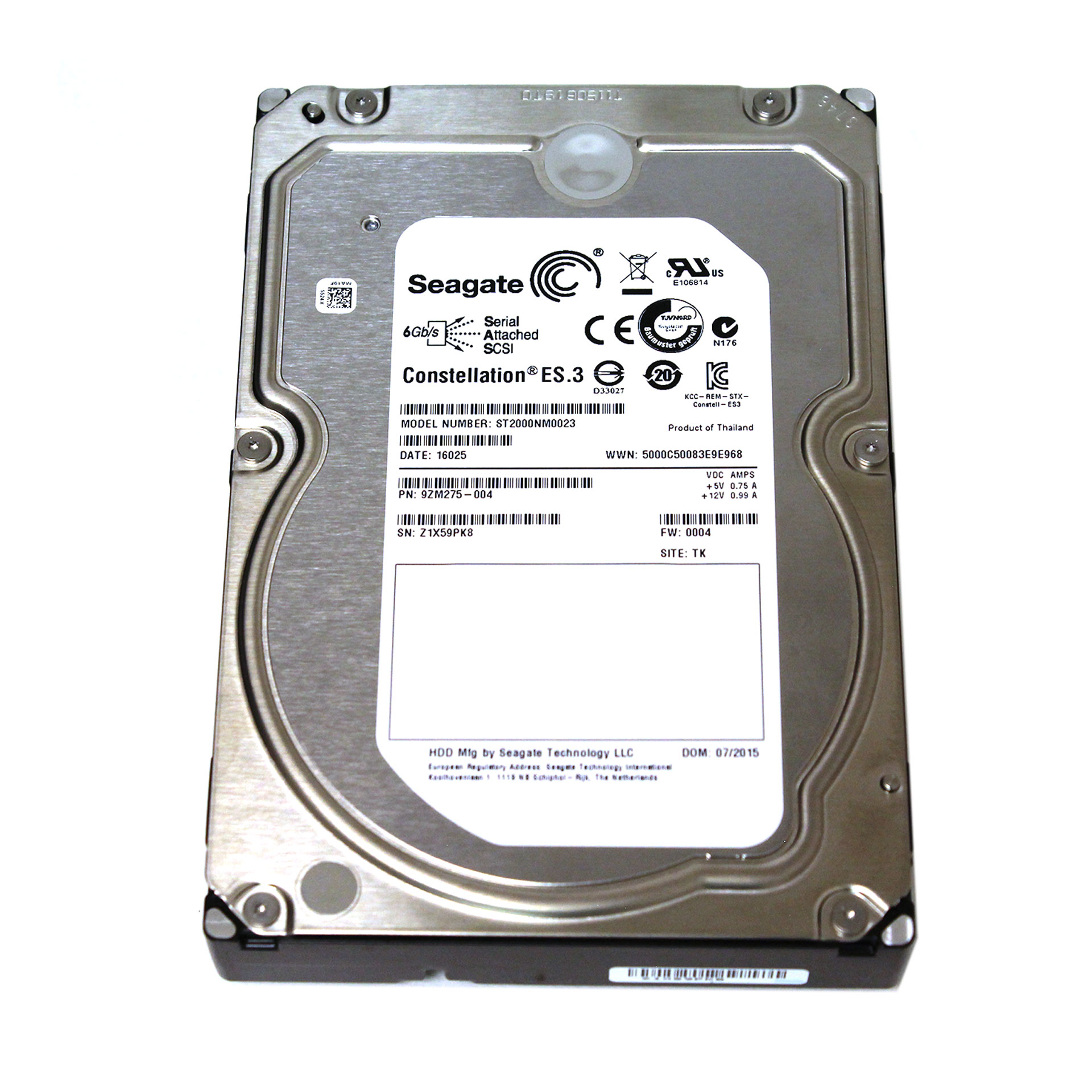 "HP Seagate 2TB ST2000NM0023 7.2K 6Gb/s 3.5"" AW555SB 719770-002"