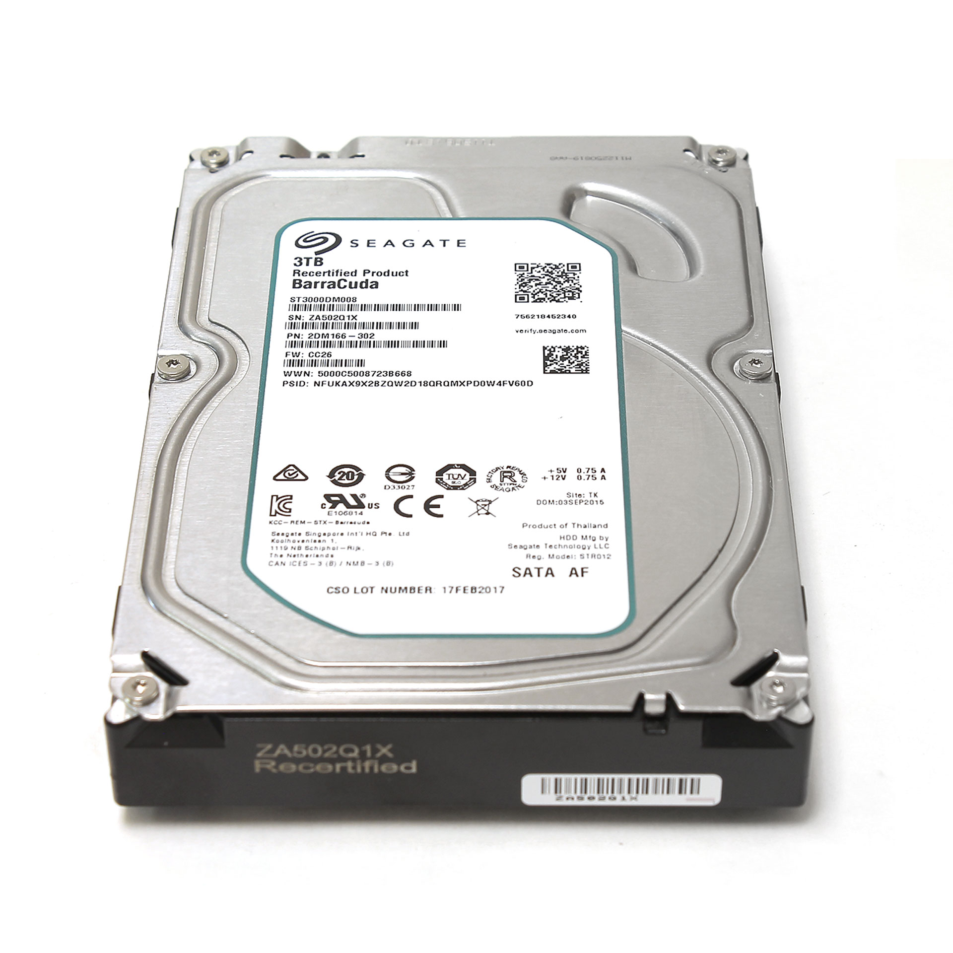 "Seagate BarraCuda 3TB ST3000DM008 64MB SATA 3.5"" 2DM166-302"