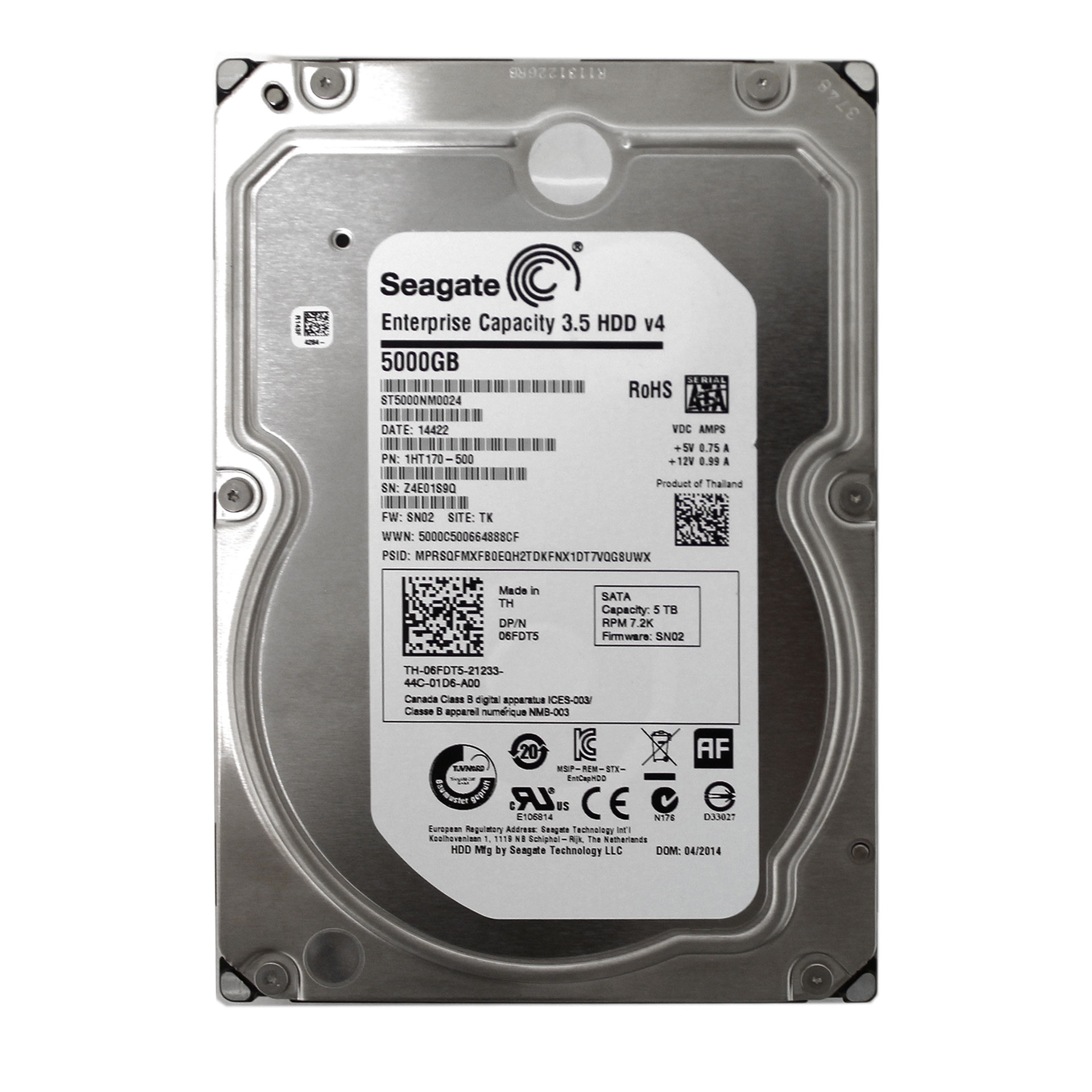 "Seagate 5TB ST5000NM0024 7200RPM 128MB SATA 3.5"" 1HT170 HDD"