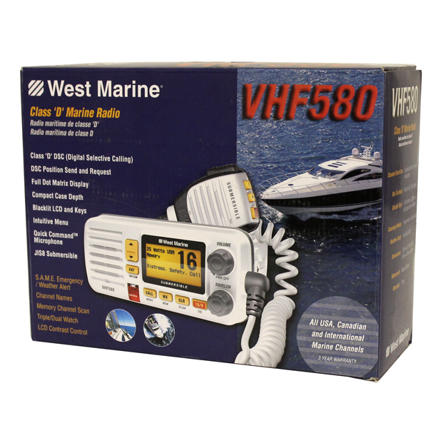 West Marine VHF580 White Fixed Mount Radio Class D Position JIS8