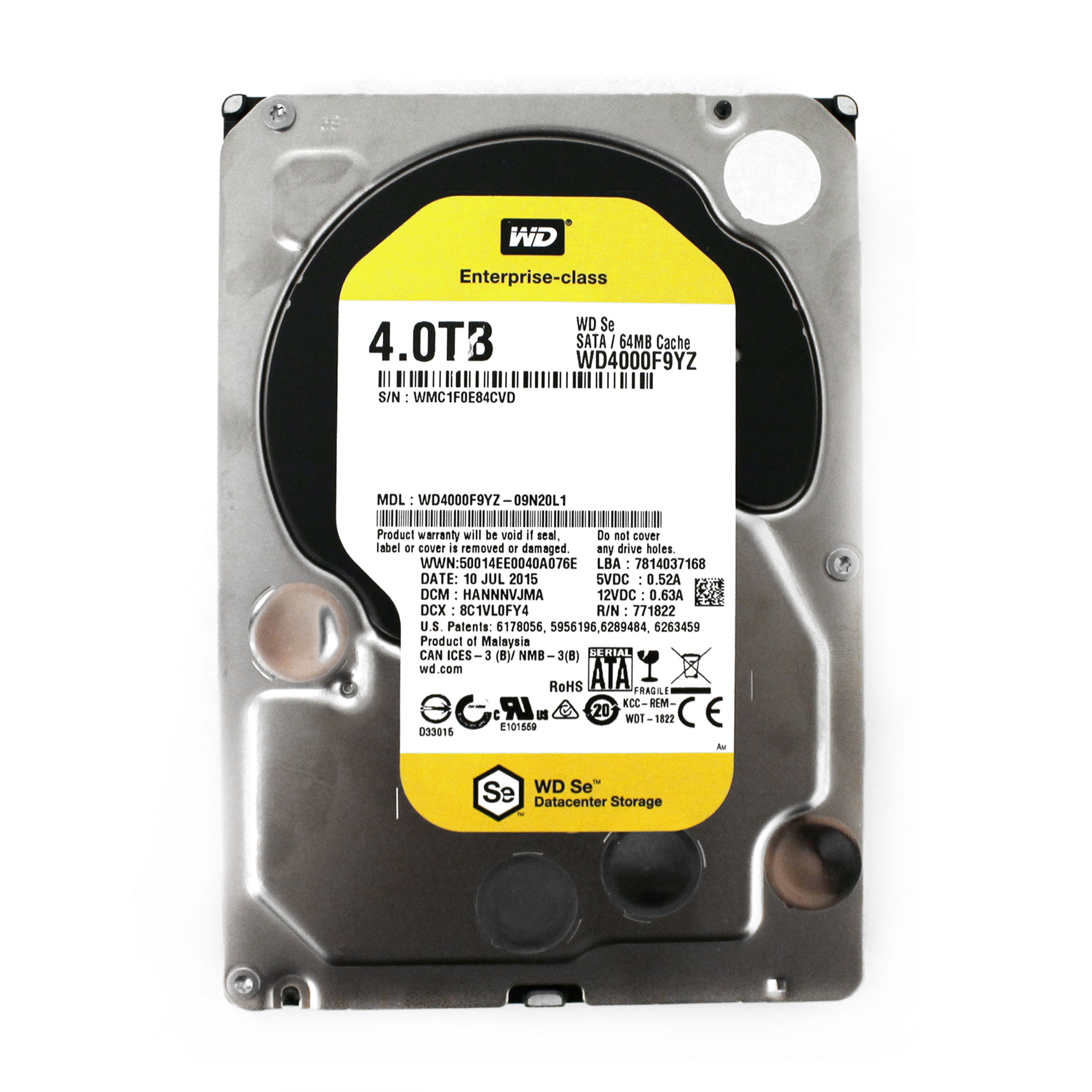 "Western Digital Se 4TB Internal HDD WD4000F9YZ 3.5"" SATA 6Gb/s"