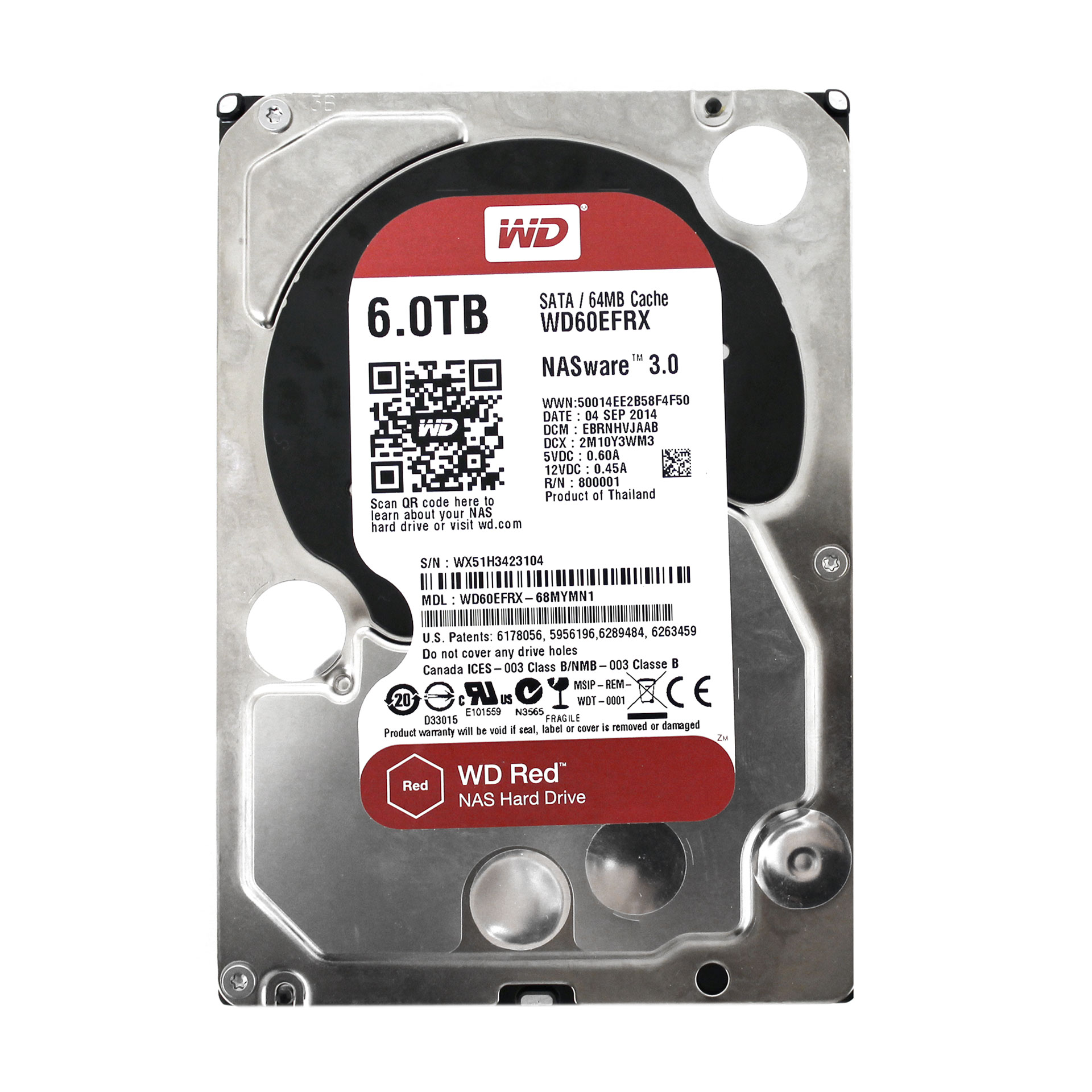 "WD Red 6TB WD60EFRX NAS 5400 RPM SATA 6Gb/s 3.5"" Hard Drive"