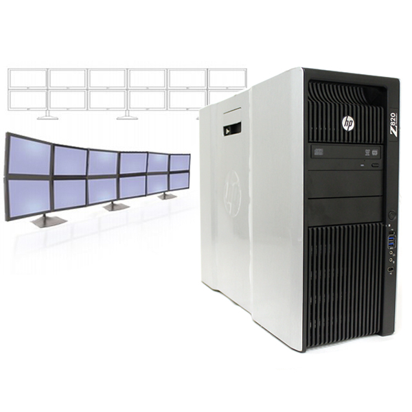 HP Z820 12 Monitor Video Wall Intel E5-2640 2.5 GHz 2x250GB HDD