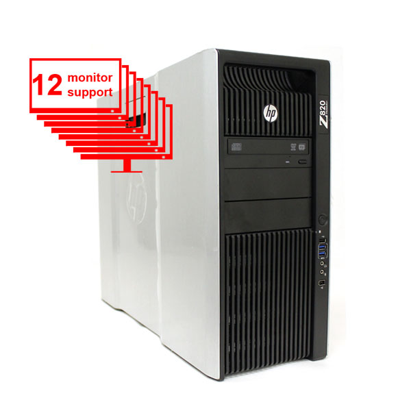HP Z820 12-Monitor Computer/PC E5-2640 12-Core/24GB /1TB+ 256GB