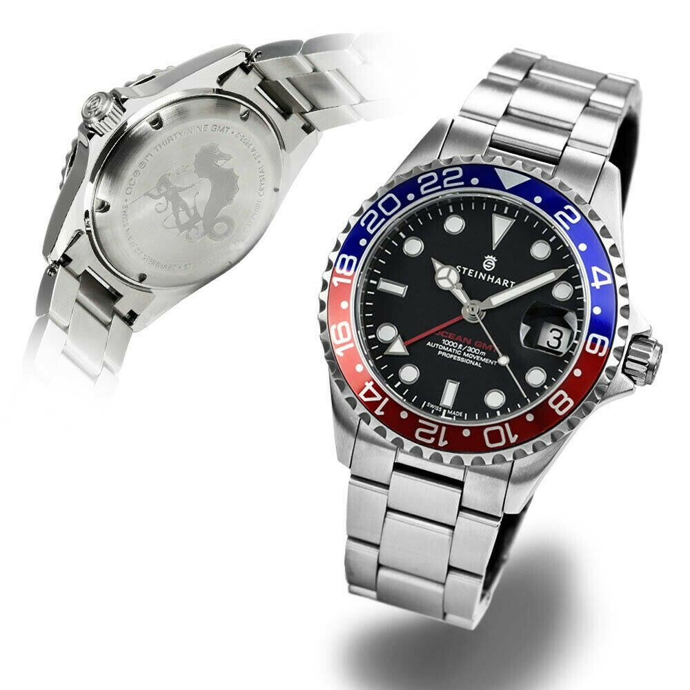 Steinhart GMT-OCEAN One 39 Blue-Red Pepsi Swiss Automatic Sapphire Diver Watch