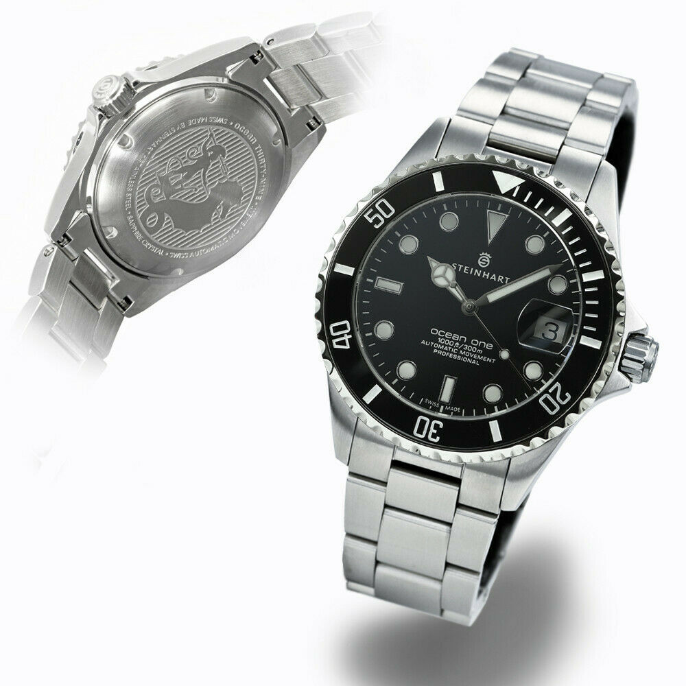 Steinhart GMT-OCEAN One 39mm Black Ceramic Swiss Automatic Sapphire Diver Watch