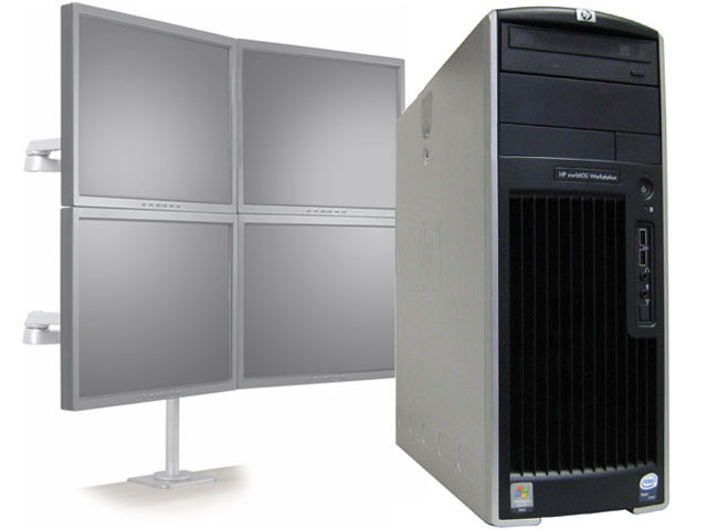 HP XW6600 Workstation Quad Core 2.33GHz/6GB 4 Monitor Computer