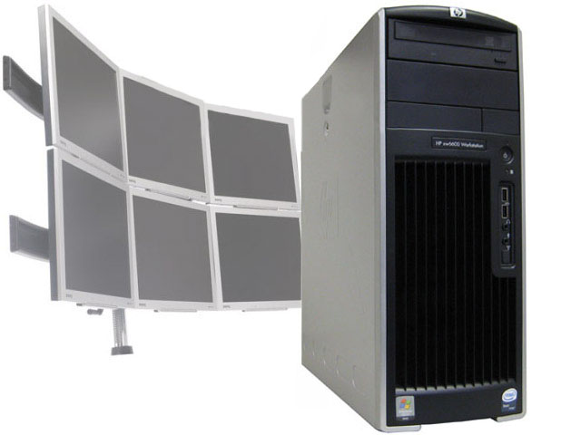 HP XW6600 - Quad Core 2.33GHz/6GB 6 Monitor Trading Workstation